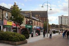 街道Coatbridge,北拉纳克郡在苏格兰在英国, 08 08 2015年 库存图片