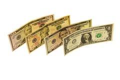 衡量单位美元在一白色backgr的各种各样的衡量单位 库存图片