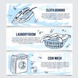 洗衣店横幅或网站倒栽跳水为服务设置了 库存图片