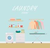 洗衣房 平的现代样式 库存照片