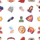 衣服、标志、超人和其他网象在动画片样式 救生员,保护者,在集合汇集的超级大国象 库存照片