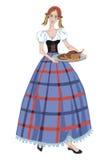 衣服和圣诞节鹅的德国女孩 免版税库存照片
