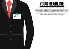 黑衣服有红色领带公司背景 免版税图库摄影