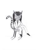 衣服的猫夫人 免版税库存图片