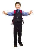 衣服的男孩与背包 图库摄影