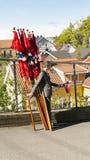 衣服的男孩拿着挪威旗子 库存图片