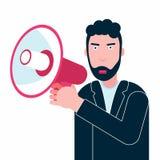 衣服谈的讲话的商人在大声的扩音机报告人 向量例证