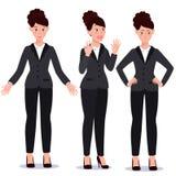 衣服集合的女商人 情感 姿势 免版税库存照片