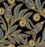 衣服饰物之小金属片无缝的样式 向量 没有梯度 黑色背景 免版税库存图片