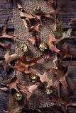 衣服饰物之小金属片球和烘干在木板条的叶子 免版税库存图片