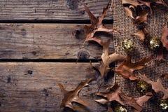 衣服饰物之小金属片球和烘干在木板条的叶子 库存图片