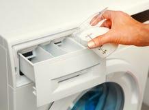 洗衣机的洗涤剂 免版税库存照片
