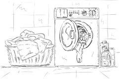 洗衣机,衣裳 免版税库存照片