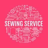 衣物修理,缝合的演播室设备横幅例证 传染媒介线裁缝商店服务象-女装裁制业 向量例证