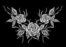 衣物的抽象白色玫瑰花刺绣艺术品设计 免版税库存照片