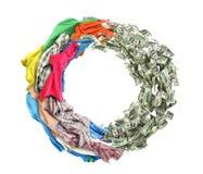 衣物轮到被隔绝的金钱和后面里 免版税库存图片