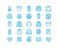 衣物, fasion平的线象 人,妇女服装-穿戴,下来夹克,牛仔裤,内衣,运动衫 稀薄线性 免版税库存照片