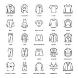 衣物, fasion平的线象 精神,妇女的服装- 皇族释放例证