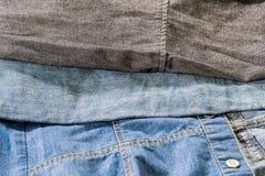 衣物-蓝色的三种类型,浅兰和灰色 免版税库存照片