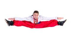 衣裳哥萨克舞蹈舞蹈演员种族俄国年轻人 新舞蹈演员跳 库存照片