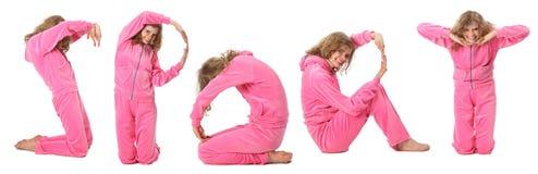 衣裳女孩粉红色表示体育运动字 免版税图库摄影