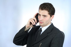 衣领电话白色工作者 库存图片
