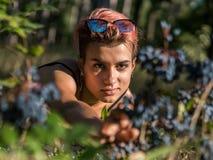 衣领的年轻俏丽的低劣的女孩和与桃红色头发的黑布料提供援助对莓果在森林里在日落时间 库存照片