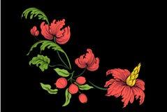 衣领线的刺绣 在葡萄酒样式的花饰 向量例证