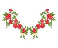 衣领线的刺绣 在葡萄酒样式的花饰 库存例证