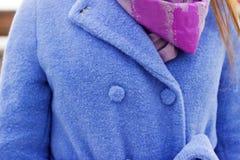 衣领蓝色外套和桃红色围巾特写镜头,以点的形式时髦的别针 免版税图库摄影