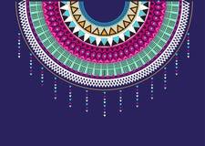 衣领衬衣的纺织品设计,阿兹台克几何印刷品 库存例证
