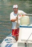 补充注油救助艇在波摩莱 建造者 免版税库存照片