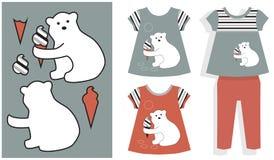 补花白熊和冰淇凌 库存图片