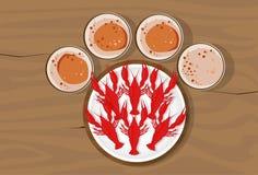 表与小龙虾油罐顶部角钢视图板材的酒吧啤酒  免版税图库摄影