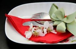 表为一顿浪漫正餐放置了 库存图片