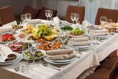 表为事件党或结婚宴会庆祝设置了 免版税库存照片