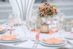 表为事件党或结婚宴会设置了 免版税图库摄影