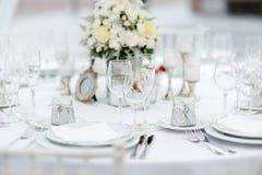 表为事件党或结婚宴会设置了 免版税库存照片