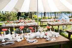 表为婚姻或另一顿承办宴席的事件晚餐设置 库存图片