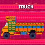代表五颜六色的印度的印地安卡车 向量例证