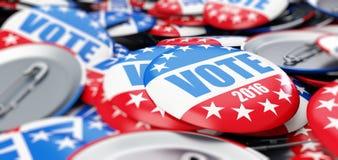表决竞选徽章按钮在2016年 库存照片