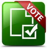 表决调查象绿色正方形按钮 免版税图库摄影