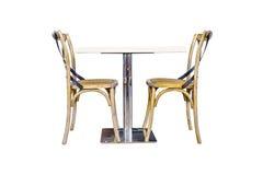 表和两把椅子在白色背景 库存图片