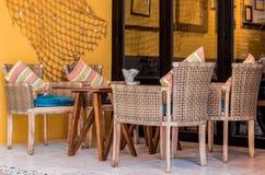 表和椅子在咖啡馆 库存照片