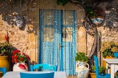 表在一家传统意大利餐馆在西西里岛 库存照片