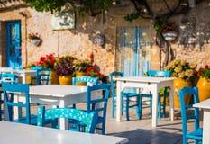 表在一家传统意大利餐馆在西西里岛 图库摄影