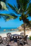 表在海滩的一家餐馆 免版税库存图片