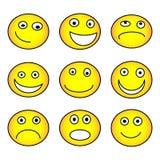 表情符号集合,黄色隔绝在白色背景,传染媒介例证 向量例证