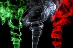代表意大利旗子的烟作用 图库摄影