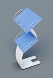 代表报纸或杂志在灰色背景 3d回报 免版税库存照片